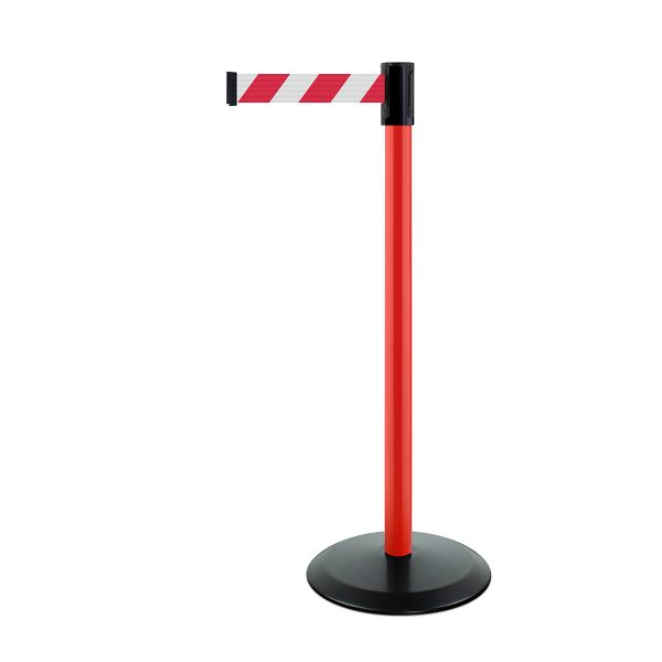 Tensator-Safety-post-in-red-with-red-chevron-webbing